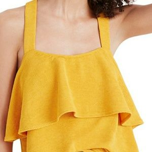 Madewell texture & thread tiered tank top tungsten